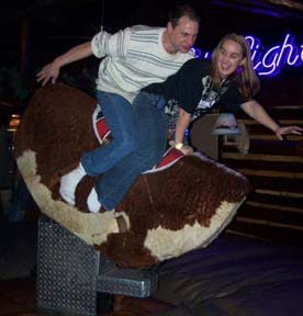 Photo: Riding a mechanical bull